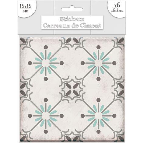 6 Stickers carreaux de ciment Soleil - 15 x 15 cm - Vert - Vert