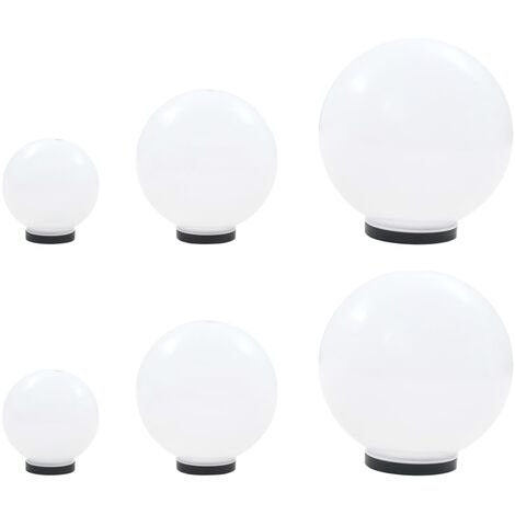 6 Stk. LED-Gartenleuchten-Set Kugelförmig 20/30/40 cm PMMA