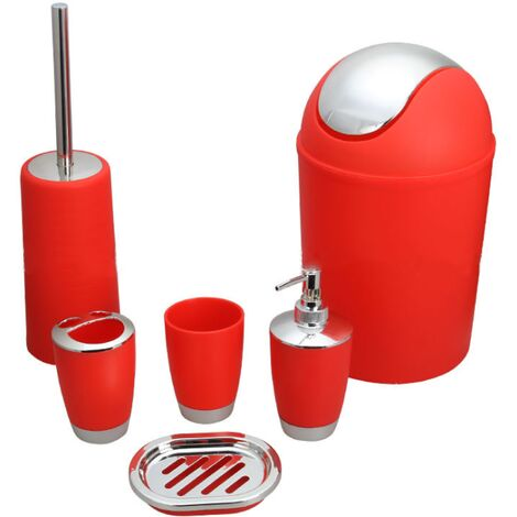 6 Stück Badzubehör Toilettenartikel Set Seifenspender Toilettenbürste Toilettenbürstenhalter Getränkehalter Zahnbürstenhalter Mini roter Mülleimer