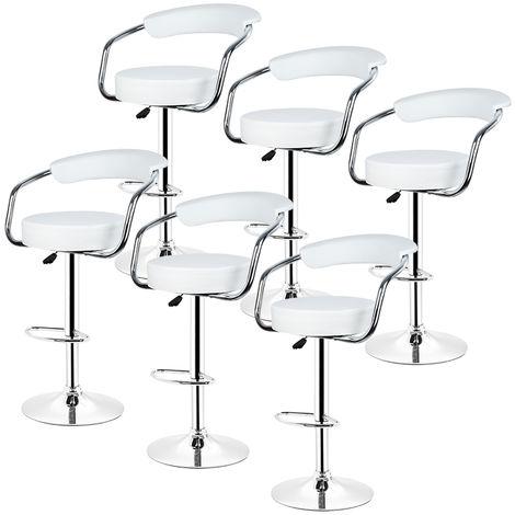 6× tabouret de Bar avec accoudoirs réglable Rotatif à 360 °pour Salon blanc
