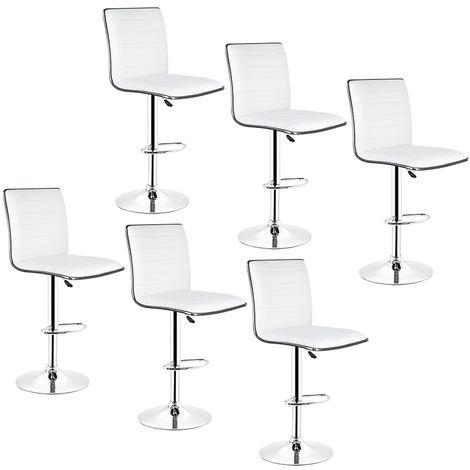 6 ×tabourets de bar réglables avec dossier chaise de bar pour cuisine blanc