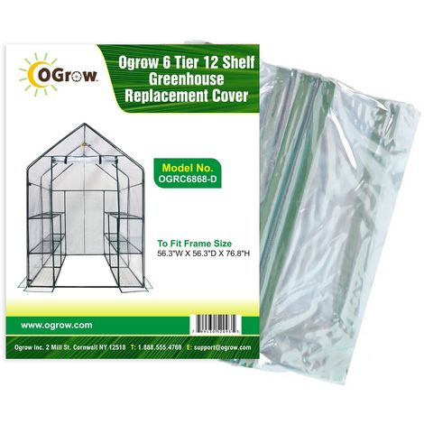 """6 Tier 12 Shelf Plastic PVC Greenhouse Replacement Cover - 56"""" W x 56"""" D x 77"""" H - Clear"""