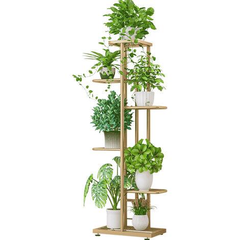 6-Tier estante de exhibicion del estante Macetas Planta soporte para macetas Escalera Planter soporte para trabajo pesado estanterias de almacenamiento en rack de plantas en maceta, Oro