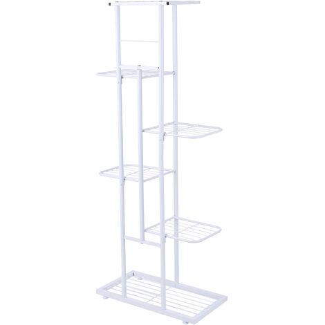 6-Tier estante de exhibicion del estante Macetas Planta soporte para macetas Escalera Planter soporte para trabajo pesado estanterias de almacenamiento en rack de plantas en macetas, blanca