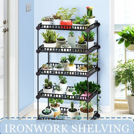 6 Tier Flower Pot Holder Garden Rack Metal Plant Shelf