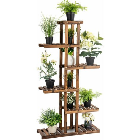 6 Tier Flower Rack Wood Plant Stand Pot Display Shelf Indoor Outdoor Garden