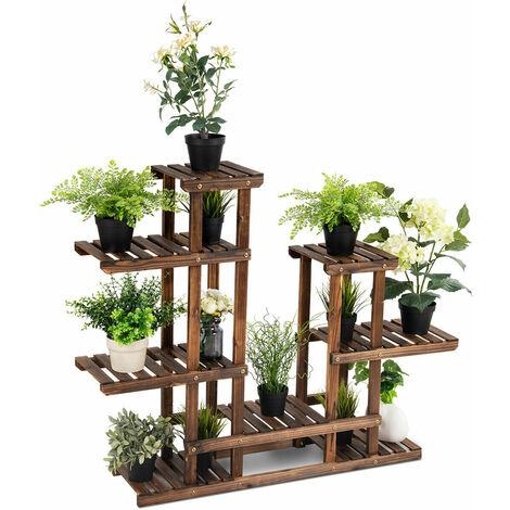 6 Tier Flower Rack Wood Plant Stand Pot Display Shelf Indoor Outdoor Garden
