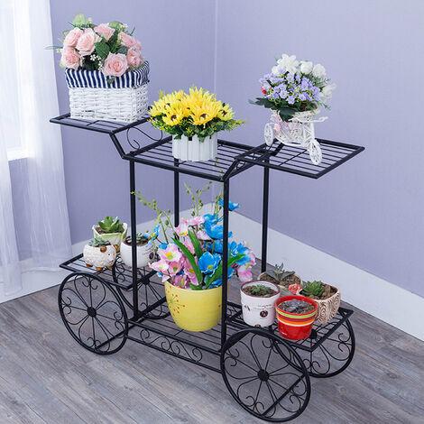 6 Tier Metal Plant Holder Garden Trolley Cart Flower Pot Rack