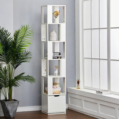 6-Tier Rotating Wood Bookshelf Open Bookcase Storage Shelf Display Rack,B
