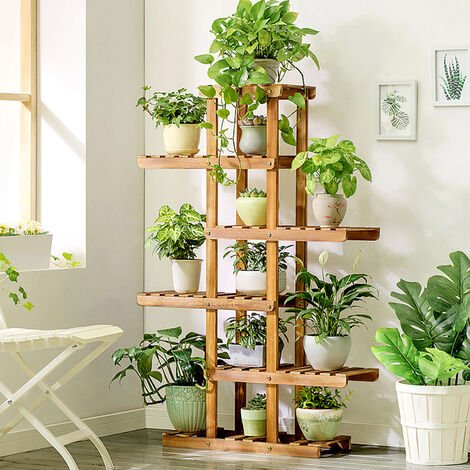 6 Tier Wood Plant Stand Corner Display Shelf Ladder