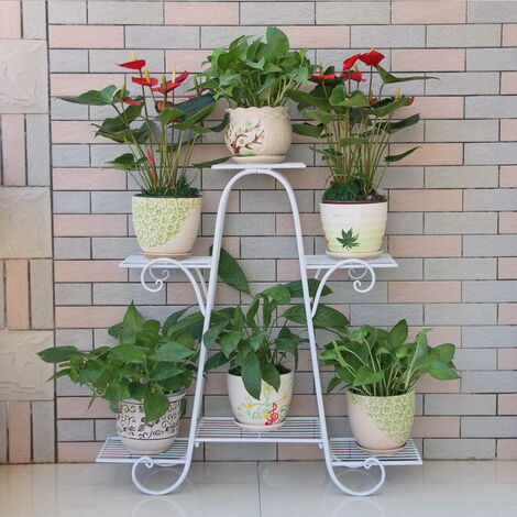 6 Tier Wrought Iron Plant Flower Stand Shelf Durable Stainless Steel