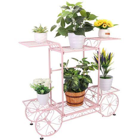 6 Tiers Garden Cart Stand & Flower Pot Plant Holder Display Rack Parisian Style