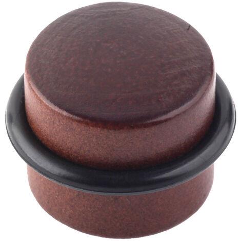 6 Topes de puerta adhesivo marca REI, fabricado en madera, con acabado sapeli y forma cilíndrica