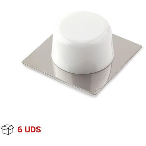 6 Topes de puerta adhesivo marca REI, fabricado en plástico, con acabado cromo brillo/blanco, forma circular y diseño clásico
