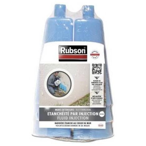 6 vases + 6 injecteurs pour Rubson Revêtement d'étanchéité Anti-infiltrations par injection
