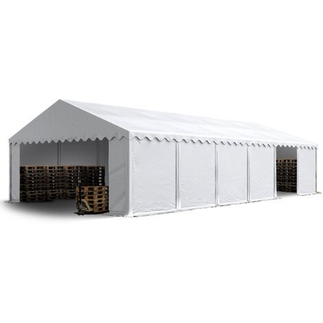 6 x 12 m Heavy Duty PVC Storage Tent Shed Temporary Shelter Fabric Warehouse Building with Galvanized Steel Construction in white
