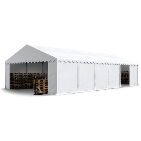 6 x 12 m Heavy Duty PVC Storage Tent with GROUNDBAR Shed Temporary Shelter Fabric Warehouse Building with Galvanized Steel Construction in white