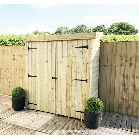 """6' x 2' 7"""" Windowless Pressure Treated Tongue And Groove Tall Pent Store"""
