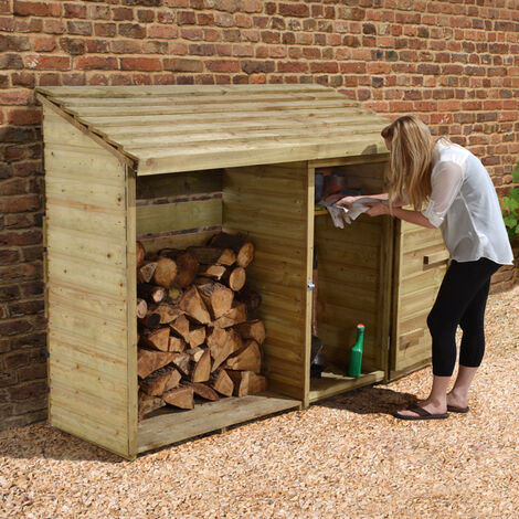 6' x 2' Forest Large Log Store Tool Shed (1.76x0.69m)