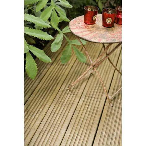 6 x 3m Lengths of 123mm x 33mm Timber Treated High Quality Wood Decking Boards