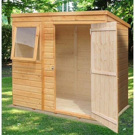6 x 4 (1.16m x 1.77m) - Tongue And Groove - Pent Garden Shed / Workshop - 1 Opening Window - Single Door - 12mm Tongue + Groove Floor