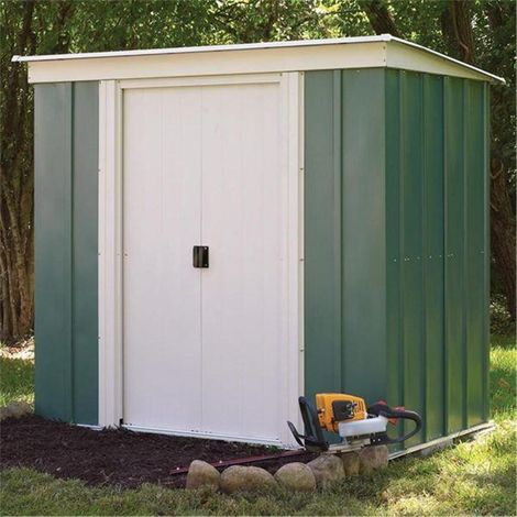 6 x 4 Deluxe Green Metal Pent Shed (1.94m x 1.19m)