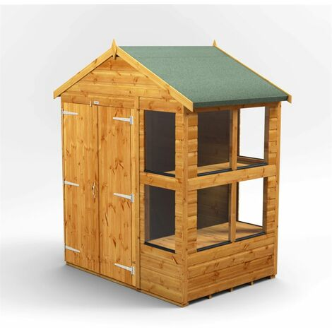 6 x 4 Premium Tongue and Groove Apex Potting Shed - Double Doors - 8 Windows - 12mm Tongue and Groove Floor and Roof