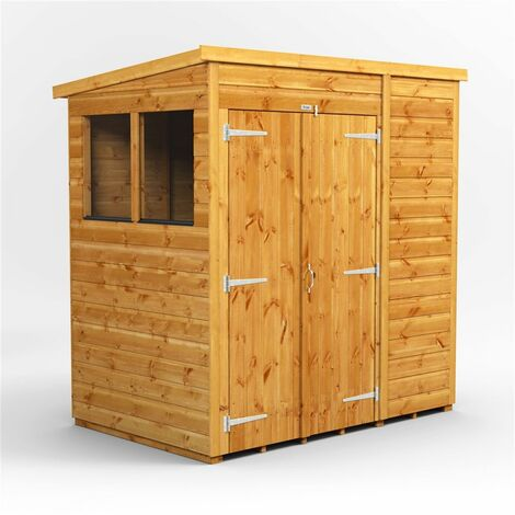 6 x 4 Premium Tongue and Groove Pent Shed - Double Doors - 2 Windows - 12mm Tongue and Groove Floor and Roof
