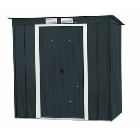 6 x 4 Value Pent Metal Shed - Anthracite Grey (2.03m x 1.24m)
