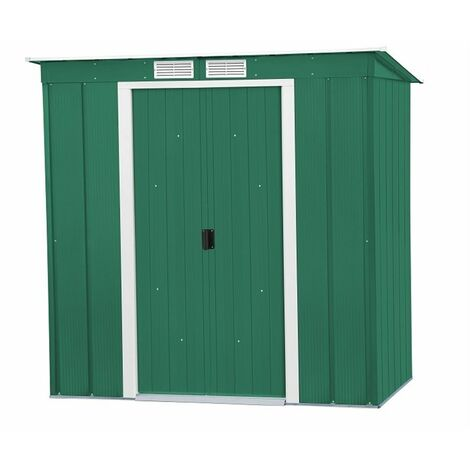 6 x 4 Value Pent Metal Shed - Green (2.03m x 1.24m)