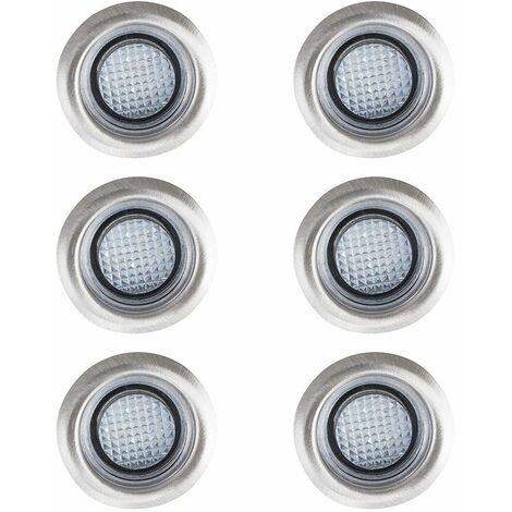 6 x 40Mm White LED Round Garden Decking / Kitchen Plinth Lights Kit - Ip67