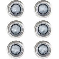6 x 40mm White LED Round Garden Decking / Kitchen Plinth Lights Kit - IP67