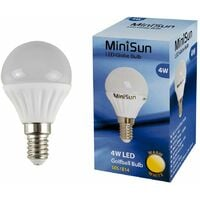 6 x 4w LED SES E14 Golfball Energy Saving Light Bulbs - 3000K Warm White