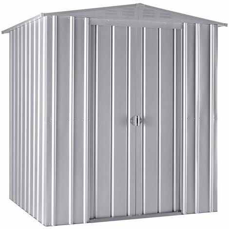 6 x 5 Premier EasyFix – Apex – Metal Shed - Aluminium White (1.84m x 1.54m)