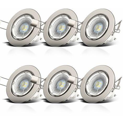 6 x 5 W LED Focos empotrables Ø 86 mm I Regulable y giratorio I GU10 I Luz blanco cálido 2700K 380lm I Downlight IP23 I Profundidad 70mm I 230 V