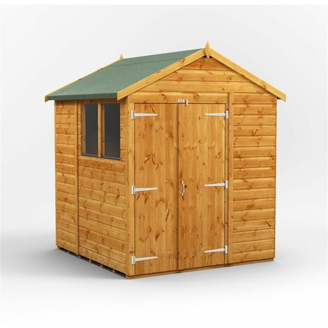 6 x 6 Premium Tongue and Groove Apex Shed - Double Doors - 2 Windows - 12mm Tongue and Groove Floor and Roof