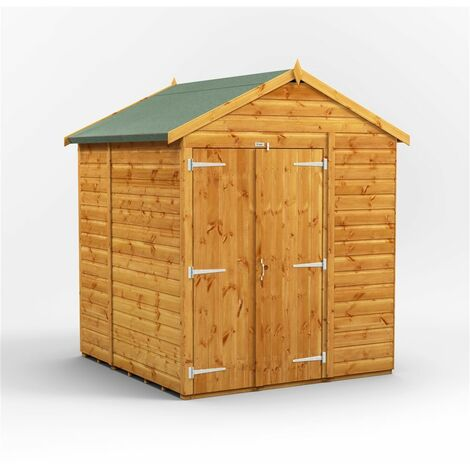 6 x 6 Premium Tongue and Groove Apex Shed - Double Doors - Windowless - 12mm Tongue and Groove Floor and Roof