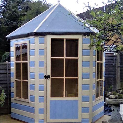 6 x 7 (1.87m x 2.16m) - Premier Pressure Treated Hexagonal Wooden Summerhouse - Single Door - 12mm T&G Walls & Floor