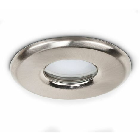 6 x Bathroom IP65 Brushed Chrome GU10 Recessed Ceiling + 6 x GU10 Daylight Cool White LED Bulbs