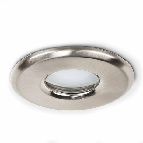 6 x Bathroom Shower Ip65 Brushed Chrome Gu10 Recessed Ceiling Downlights + 6 x 5W Gu10 Warm White LED Bulbs
