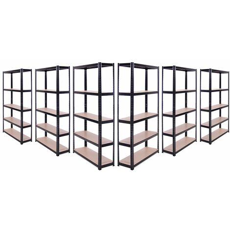 6 x Black Metal 5 Tier Garage Shelves Shelving Unit Racking Storage 180x90x30cm
