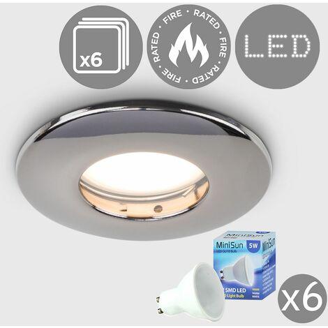 "main image of ""6 x Fire Rated Bathroom IP65 Domed GU10 Downlight Spotlights + 5W Warm White GU10 LED Bulbs - Brushed Chrome"""