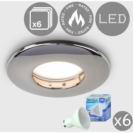 6 x Fire Rated Bathroom Shower IP65 Black Chrome Domed GU10 Ceiling Downlight + 6 x Cool White GU10 LED Bulbs