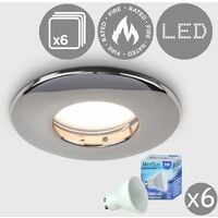 6 x Fire Rated Bathroom Shower IP65 Black Chrome Domed GU10 Ceiling Downlight + 6 x Cool White GU10 LED Bulbs