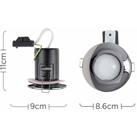 Pack Of 4 MiniSun Fire Rated Bathroom//Shower IP65 Gloss White Domed Ceiling Downlights Complete With 4 x 5W Cool White GU10 LED Bulbs