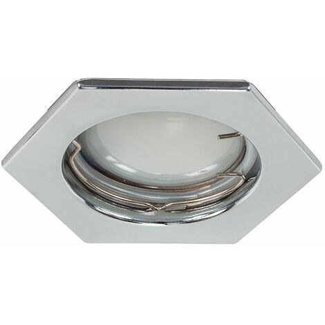 6 x Fire Rated Chrome Gu10 Hexagonal Recessed Ceiling Downlight