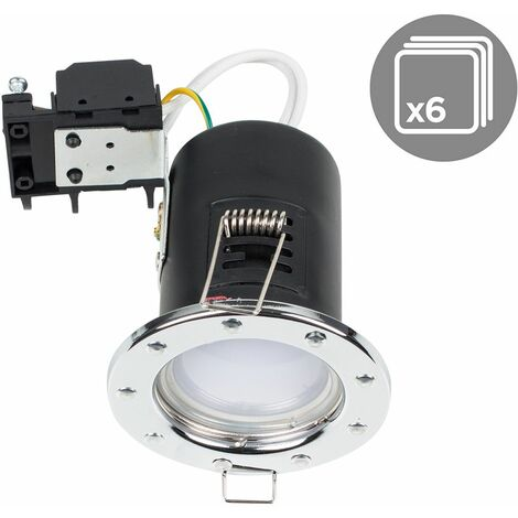 6 x Fire Rated Chrome GU10 Recessed Ceiling / Spotlights