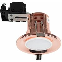 6 x Fire Rated Copper GU10 Recessed Ceiling Downlights Spotlights + 6 x 5W GU10 Warm White LED Bulbs