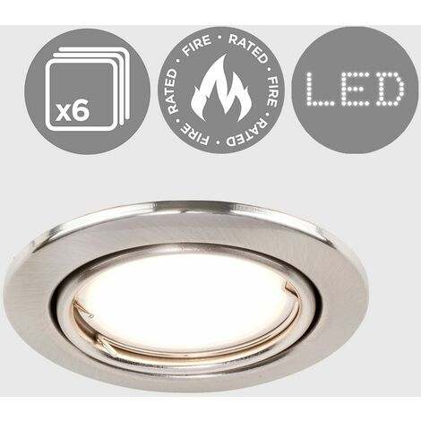 6 x Fire Rated GU10 Tiltable Ceiling Recessed
