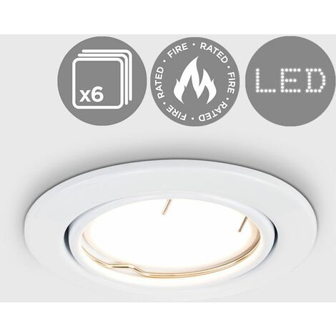 6 x Fire Rated GU10 Tiltable Ceiling Recessed - White